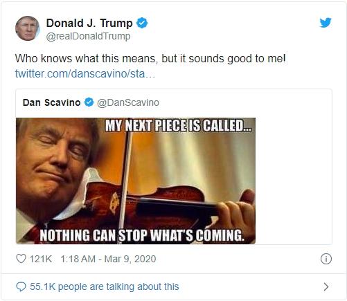 Трамп ответил на случившиеся на рынках события красноречивым твитом: «Ничего не сможет остановить грядущее».