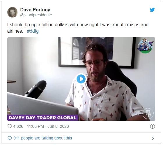 Dave Portnoy — я должен быть долларовым миллиардером судя по тому как угадал с крузами и авиалиниями (отрасли на фондовом рынке США).